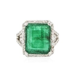 14KT White Gold 9.35 ctw Emerald and Diamond Ring