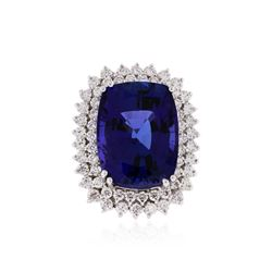 14KT White Gold GIA Certified 24.85 ctw Tanzanite and Diamond Ring