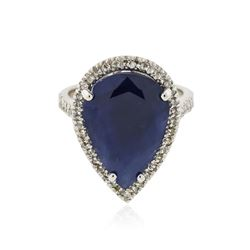 14KT White Gold 14.46 ctw Sapphire and Diamond Ring