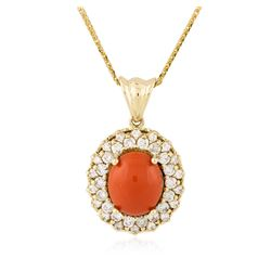 14KT Rose Gold 5.58 ctw Coral and Diamond Pendant With Chain