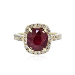 14KT Yellow Gold 4.95 ctw Ruby and Diamond Ring