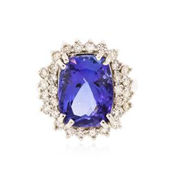 14KT White Gold 7.79 ctw Tanzanite and Diamond Ring