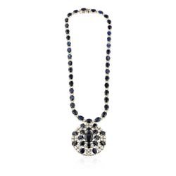 14KT White Gold 85.76 ctw Sapphire and Diamond Necklace