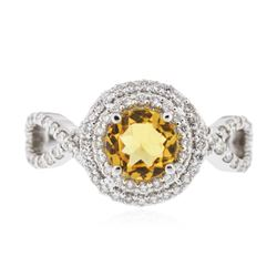 14KT White Gold 0.81 ctw Citrine and Diamond Ring