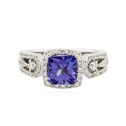 18KT White Gold 1.62 ctw Tanzanite and Diamond Ring