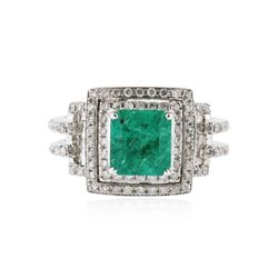 18KT White Gold 1.71 ctw Emerald and Diamond Ring