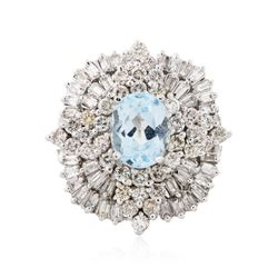 14KT White Gold 1.74 ctw Aquamarine and Diamond Ring