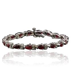 14KT White Gold 8.32 ctw Ruby and Diamond Bracelet