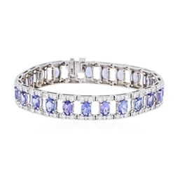 14KT White Gold 11.25 ctw Tanzanite and Diamond Bracelet