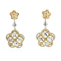 14KT Yellow Gold 0.75 ctw Diamond Dangle Earrings