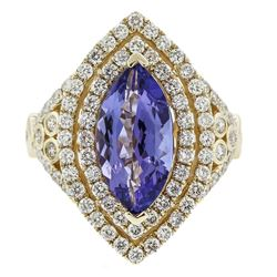 14KT Yellow Gold 10.41 ctw Tanzanite and Diamond Ring