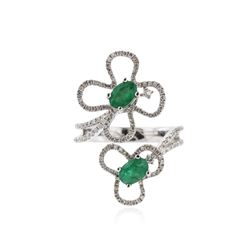 18KT White Gold 0.95 ctw Emerald and Diamond Ring