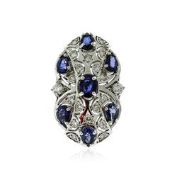 14KT White Gold 3.78 ctw Sapphire and Diamond Ring