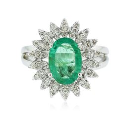 14KT White Gold 1.53 ctw Emerald and Diamond Ring