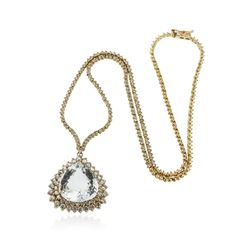 14KT Yellow Gold GIA Certified 17.51 ctw Aquamarine and Diamond Necklace