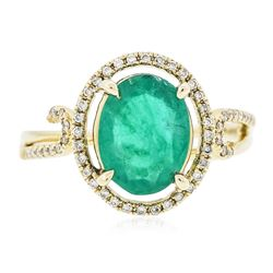 14KT Yellow Gold 1.72 ctw Emerald and Diamond Ring