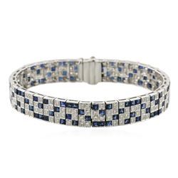 18KT White Gold 9.52 ctw Sapphire and Diamond Bracelet