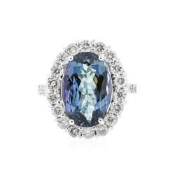 14KT White Gold 4.44 ctw Tanzanite and Diamond Ring