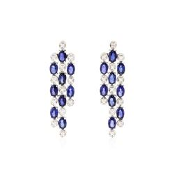 14KT White Gold 9.36 ctw Sapphire and Diamond Earrings