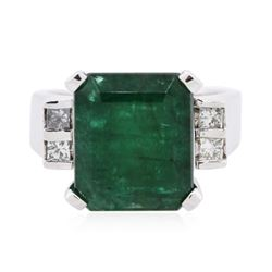 14KT White Gold 6.73 ctw Emerald and Diamond Ring