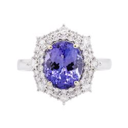 14KT White Gold 3.49 ctw Tanzanite and Diamond Ring