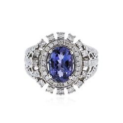 14KT White Gold 3.31 ctw Tanzanite and Diamond Ring