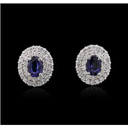 14KT White Gold 1.84 ctw Sapphire and Diamond Earrings