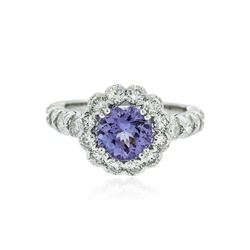 14KT White Gold 1.77 ctw Tanzanite and Diamond Ring