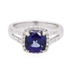14KT White Gold 2.60 ctw Sapphire and Diamond Ring