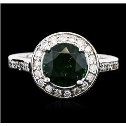 14KT White Gold 1.83 ctw Green Tourmaline and Diamond Ring