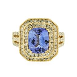 14KT Yellow Gold 3.52 ctw Tanzanite and Diamond Ring