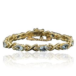14KT Yellow Gold 10.00 ctw Aquamarine and Diamond Bracelet