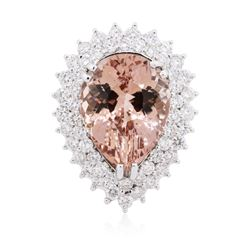 14KT White Gold 11.47 ctw Morganite and Diamond Ring