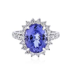 14KT White Gold 4.80 ctw Tanzanite and Diamond Ring
