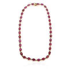 14KT Yellow Gold 52.70 ctw Ruby and Diamond Necklace