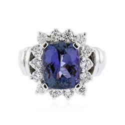 14KT White Gold 3.54 ctw Tanzanite and Diamond Ring