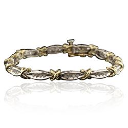 14KT Two-Tone Gold 0.12 ctw Diamond Tennis Bracelet
