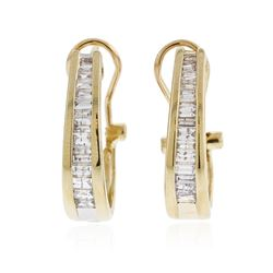 14KT Yellow Gold 1.10 ctw Diamond Hoop Earrings
