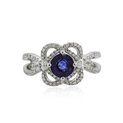 18KT White Gold 1.01 ctw Sapphire and Diamond Ring