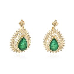 14KT Yellow Gold 8.07 ctw Emerald and Diamond Earrings
