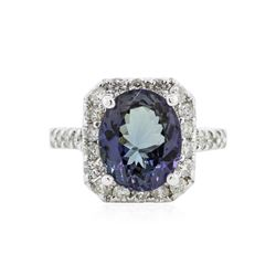 14KT White Gold 4.45 ctw Tanzanite and Diamond Ring