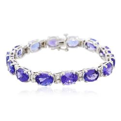14KT White Gold 27.12 ctw Tanzanite and Diamond Bracelet