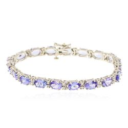 14KT White Gold 14.06 ctw Tanzanite and Diamond Bracelet