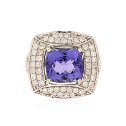 14KT White Gold 5.98 ctw Tanzanite and Diamond Ring