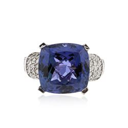 14KT White Gold 12.25 ctw Tanzanite and Diamond Ring