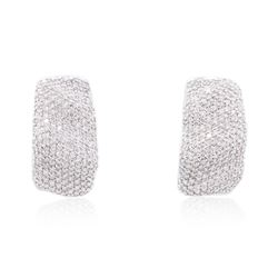 18KT White Gold 1.09 ctw Diamond Earrings
