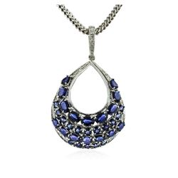 14KT White Gold 15.07 ctw Sapphire & Diamond Pendant with Chain