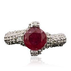 14KT White Gold 1.63 ctw Ruby and Diamond Ring