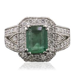 14KT White Gold 2.23 ctw Emerald and Diamond Ring