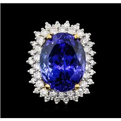 14KT White Gold GIA Certified 22.13 ctw Tanzanite and Diamond Ring